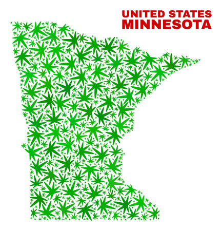 Vector marijuana Minnesota State map collage. Concept with green weed leaves for marijuana legalize campaign. Vector Minnesota State map is formed with marijuana leaves. Ilustração