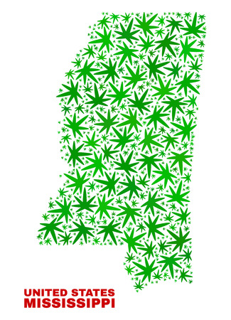 Vector marijuana Mississippi State map collage. Template with green weed leaves for weed legalize campaign. Vector Mississippi State map is constructed with herbal leaves. Illustration