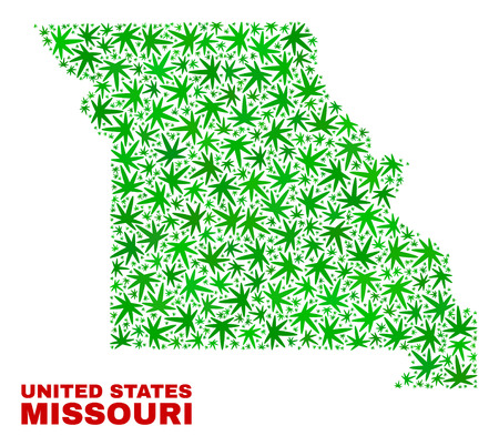 Vector marijuana Missouri State map collage. Template with green weed leaves for marijuana legalize campaign. Vector Missouri State map is created of weed leaves.