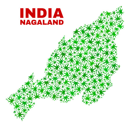 Vector marijuana Nagaland State map mosaic. Template with green weed leaves for weed legalize campaign. Vector Nagaland State map is organized from weed leaves.