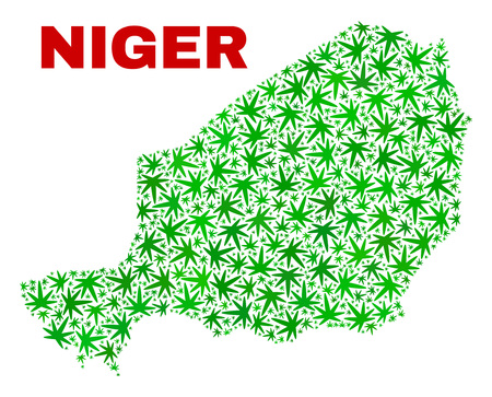 Vector marijuana Niger map mosaic. Concept with green weed leaves for marijuana legalize campaign. Vector Niger map is organized with weed leaves. Stock Vector - 124353436