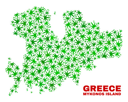 Vector marijuana Mykonos Island map collage. Concept with green weed leaves for hemp legalize campaign. Vector Mykonos Island map is created with cannabis leaves. Ilustrace