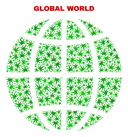 Vector cannabis planet globe collage. Template with green weed leaves for hemp legalize campaign. Vector planet globe is formed with weed leaves.