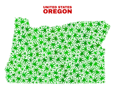 Vector cannabis Oregon State map collage. Template with green weed leaves for weed legalize campaign. Vector Oregon State map is created with cannabis leaves.