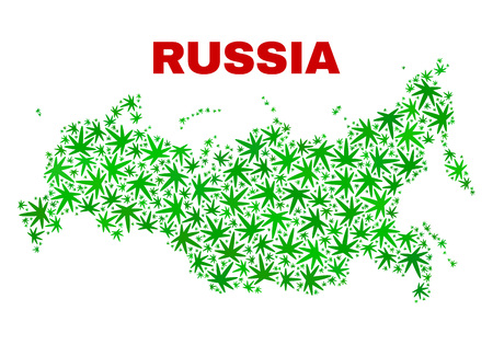 Vector cannabis Russia map mosaic. Concept with green weed leaves for weed legalize campaign. Vector Russia map is formed with cannabis leaves. Illustration