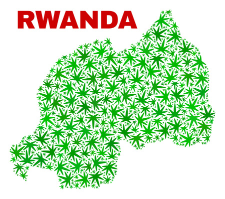 Vector marijuana Rwanda map collage. Concept with green weed leaves for weed legalize campaign. Vector Rwanda map is composed with weed leaves.