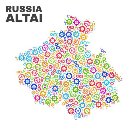 Mosaic technical Altai Republic map isolated on a white background. Vector geographic abstraction in different colors. Mosaic of Altai Republic map combined of random multi-colored cog items.  イラスト・ベクター素材