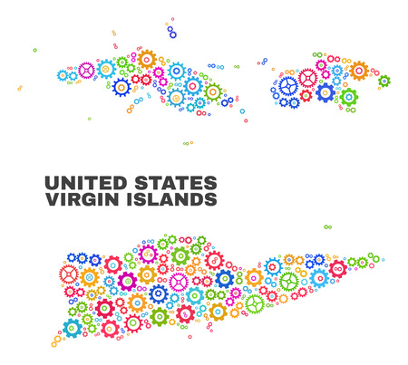 Mosaic technical American Virgin Islands map isolated on a white background. Vector geographic abstraction in different colors. Vektoros illusztráció