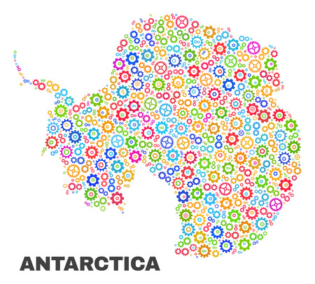 Mosaic technical Antarctica continent map isolated on a white background. Vector geographic abstraction in different colors.