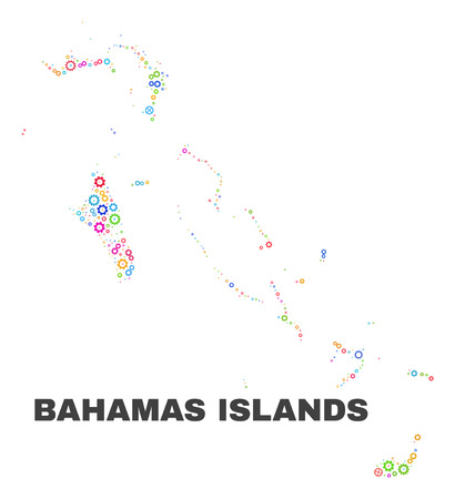Mosaic technical Bahamas Islands map isolated on a white background. Vector geographic abstraction in different colors. Mosaic of Bahamas Islands map combined of random multi-colored cog items.