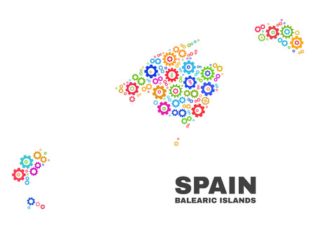 Mosaic technical Balearic Islands map isolated on a white background. Vector geographic abstraction in different colors. Vecteurs