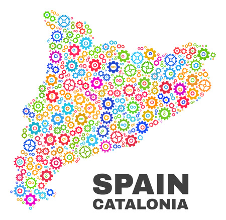 Mosaic technical Catalonia map isolated on a white background. Vector geographic abstraction in different colors. Mosaic of Catalonia map combined of scattered multi-colored cogwheel elements. 일러스트