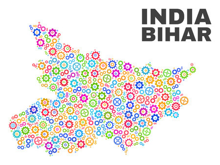 Mosaic technical Bihar State map isolated on a white background. Vector geographic abstraction in different colors. Mosaic of Bihar State map combined of random multi-colored gear items. Illustration
