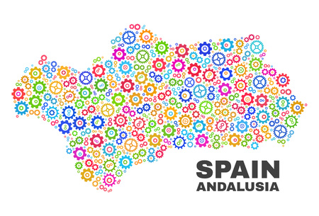 Mosaic technical Andalusia Province map isolated on a white background. Vector geographic abstraction in different colors.