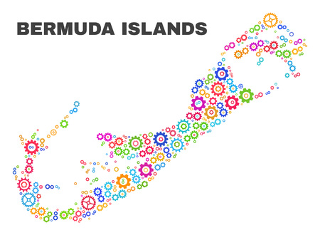 Mosaic technical Bermuda Islands map isolated on a white background. Vector geographic abstraction in different colors. Mosaic of Bermuda Islands map combined of random multi-colored cog elements. Ilustração