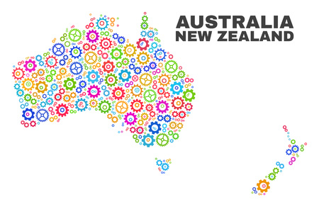Mosaic technical Australia and New Zealand map isolated on a white background. Vector geographic abstraction in different colors.