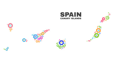 Mosaic technical Canary Islands map isolated on a white background. Vector geographic abstraction in different colors. Mosaic of Canary Islands map combined of scattered bright cog elements. 向量圖像