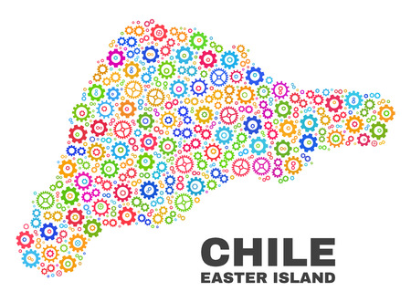 Mosaic technical Easter Island map isolated on a white background. Vector geographic abstraction in different colors. Mosaic of Easter Island map combined of scattered multi-colored wheel items.