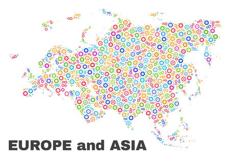 Mosaic technical Europe and Asia map isolated on a white background. Vector geographic abstraction in different colors. Mosaic of Europe and Asia map combined of random multi-colored gearwheel items.