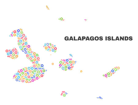 Mosaic technical Galapagos Islands map isolated on a white background. Vector geographic abstraction in different colors. Mosaic of Galapagos Islands map combined of random multi-colored gear items. Illustration