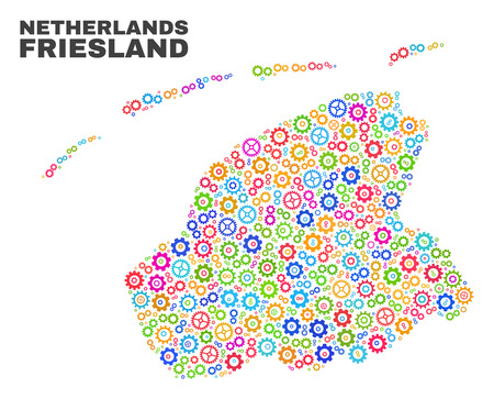 Mosaic technical Friesland Province map isolated on a white background. Vector geographic abstraction in different colors.