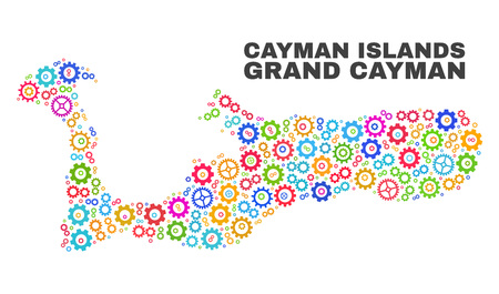 Mosaic technical Grand Cayman Island map isolated on a white background. Vector geographic abstraction in different colors.