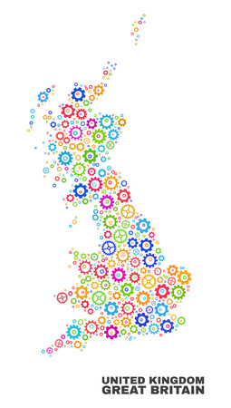 Mosaic technical Great Britain map isolated on a white background. Vector geographic abstraction in different colors. Mosaic of Great Britain map combined of random multi-colored cogwheel elements.
