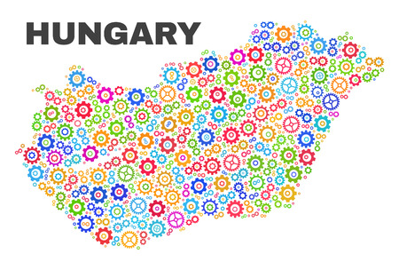 Mosaic technical Hungary map isolated on a white background. Vector geographic abstraction in different colors. Mosaic of Hungary map combined of random multi-colored cogwheel elements. Ilustração