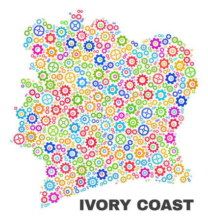 Mosaic technical Ivory Coast map isolated on a white background. Vector geographic abstraction in different colors. Mosaic of Ivory Coast map designed from random multi-colored gearwheel elements.