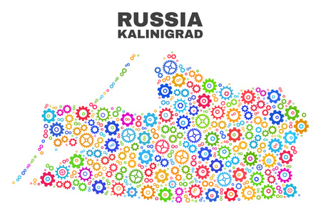 Mosaic technical Kalinigrad Region map isolated on a white background. Vector geographic abstraction in different colors. Vector Illustration