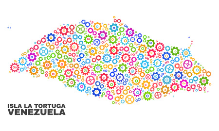 Mosaic technical Isla La Tortuga map isolated on a white background. Vector geographic abstraction in different colors. Mosaic of Isla La Tortuga map combined of scattered multi-colored gear elements.