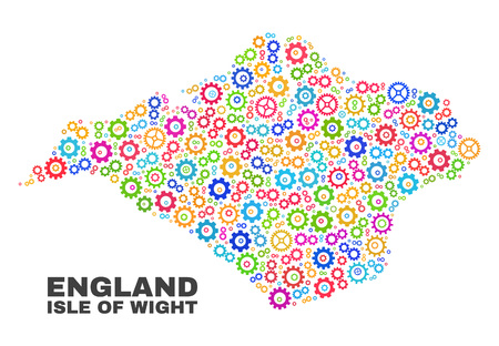Mosaic technical Isle of Wight map isolated on a white background. Vector geographic abstraction in different colors. Mosaic of Isle of Wight map combined of scattered multi-colored cogwheel items.