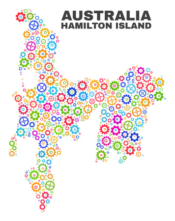 Mosaic technical Hamilton Island map isolated on a white background. Vector geographic abstraction in different colors.