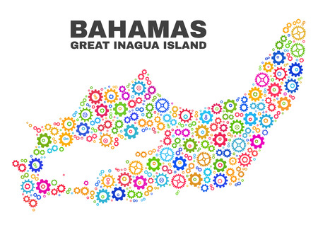Mosaic technical Great Inagua Island map isolated on a white background. Vector geographic abstraction in different colors.