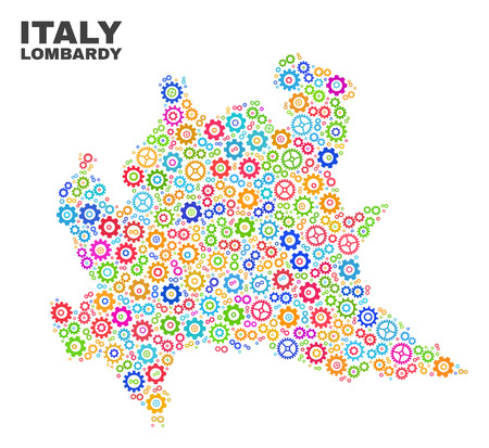 Mosaic technical Lombardy region map isolated on a white background. Vector geographic abstraction in different colors. Mosaic of Lombardy region map combined of random bright cogwheel items.