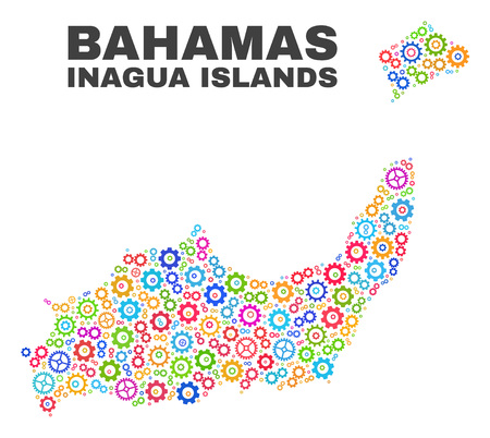 Mosaic technical Inagua Islands map isolated on a white background. Vector geographic abstraction in different colors. Mosaic of Inagua Islands map designed from random bright gearwheel items.