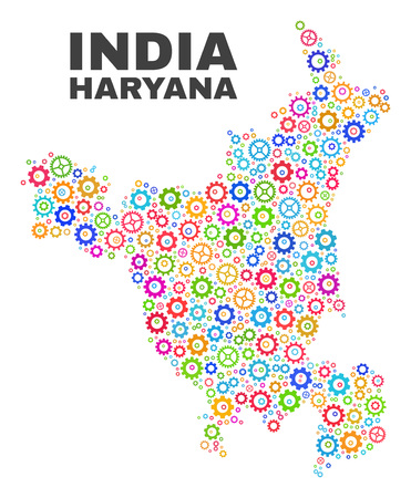Mosaic technical Haryana State map isolated on a white background. Vector geographic abstraction in different colors. Mosaic of Haryana State map composed from scattered multi-colored gearwheel items.