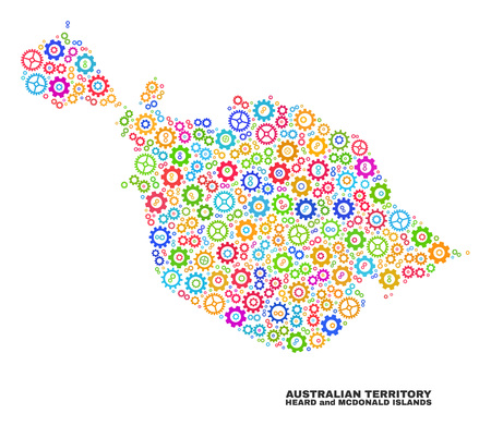 Mosaic technical Heard and McDonald Islands map isolated on a white background. Vector geographic abstraction in different colors.