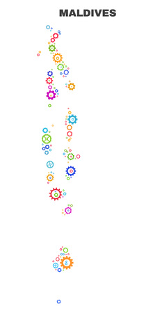Mosaic technical Maldives map isolated on a white background. Vector geographic abstraction in different colors. Mosaic of Maldives map combined of scattered multi-colored gearwheel elements.
