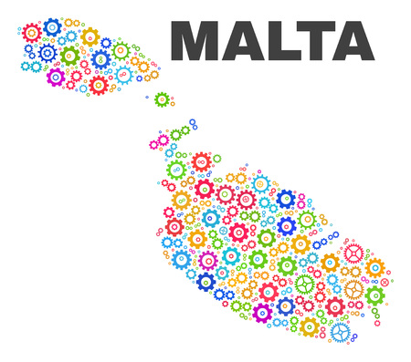 Mosaic technical Malta map isolated on a white background. Vector geographic abstraction in different colors. Mosaic of Malta map combined of random multi-colored wheel elements.