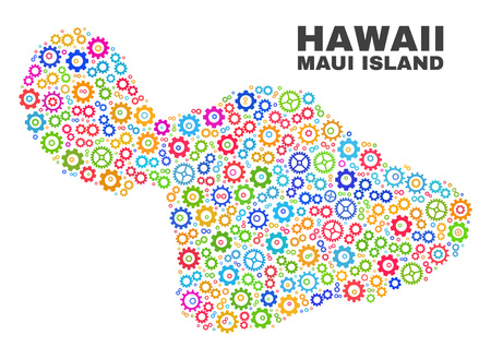 Mosaic technical Maui Island map isolated on a white background. Vector geographic abstraction in different colors. Mosaic of Maui Island map combined of random multi-colored gearwheel elements.