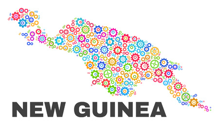Mosaic technical New Guinea map isolated on a white background. Vector geographic abstraction in different colors. Mosaic of New Guinea map combined of scattered multi-colored gear items.