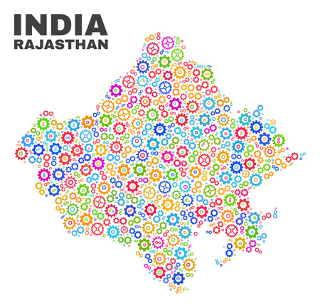 Mosaic technical Rajasthan State map isolated on a white background. Vector geographic abstraction in different colors.