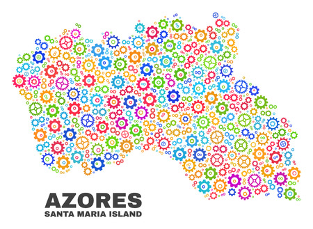 Mosaic technical Santa Maria Island map isolated on a white background. Vector geographic abstraction in different colors. Mosaic of Santa Maria Island map combined of random multi-colored gear items.