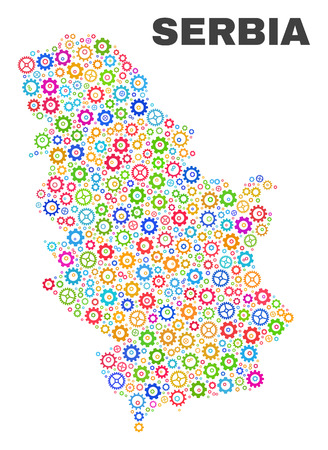 Mosaic technical Serbia map isolated on a white background. Vector geographic abstraction in different colors. Mosaic of Serbia map combined of random multi-colored gear items.
