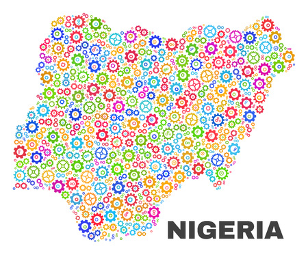 Mosaic technical Nigeria map isolated on a white background. Vector geographic abstraction in different colors. Mosaic of Nigeria map combined of scattered bright gearwheel elements. Stock Vector - 124291458