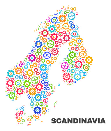 Mosaic technical Scandinavia map isolated on a white background. Vector geographic abstraction in different colors. Mosaic of Scandinavia map combined of scattered multi-colored gearwheel items.