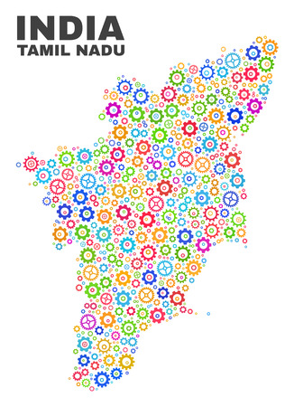 Mosaic technical Tamil Nadu State map isolated on a white background. Vector geographic abstraction in different colors. Mosaic of Tamil Nadu State map combined of scattered bright gearwheel items. Vector Illustration