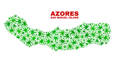 Vector cannabis Sao Miguel Island map collage. Concept with green weed leaves for cannabis legalize campaign. Vector Sao Miguel Island map is constructed with cannabis leaves.