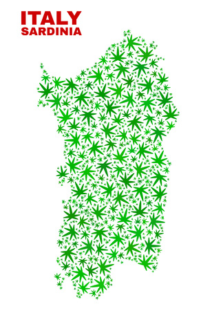 Vector marijuana Sardinia map mosaic. Template with green weed leaves for marijuana legalize campaign. Vector Sardinia map is formed with marijuana leaves.